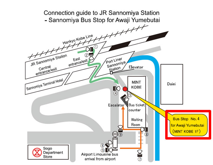 Connection guide to JR Sannomiya Station