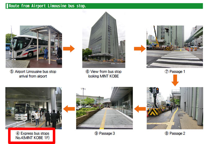 Route from Airport Limousine bus stop